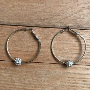 WHBM goldtone rhinestone crystal ball hoops